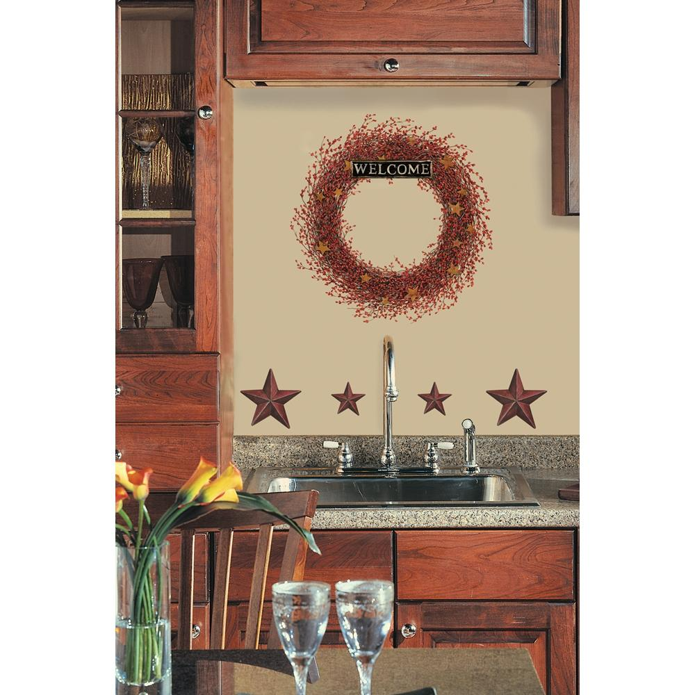 New Berry Vines Wreath Stars Wall Decals Country Kitchen Stickers