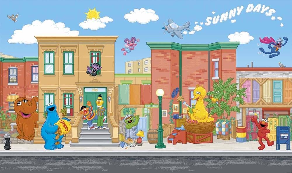 6' X 10.5' SESAME STREET WALL MURAL Prepasted Wallpaper Elmo Big Bird Decor