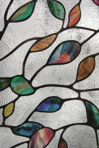 new leaf privacy stained glass window film textured floral vinyl static clings ebay. Black Bedroom Furniture Sets. Home Design Ideas