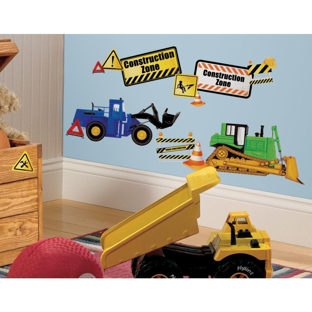 New construction zone wall decals dump trucks bulldozers for Decoration zone