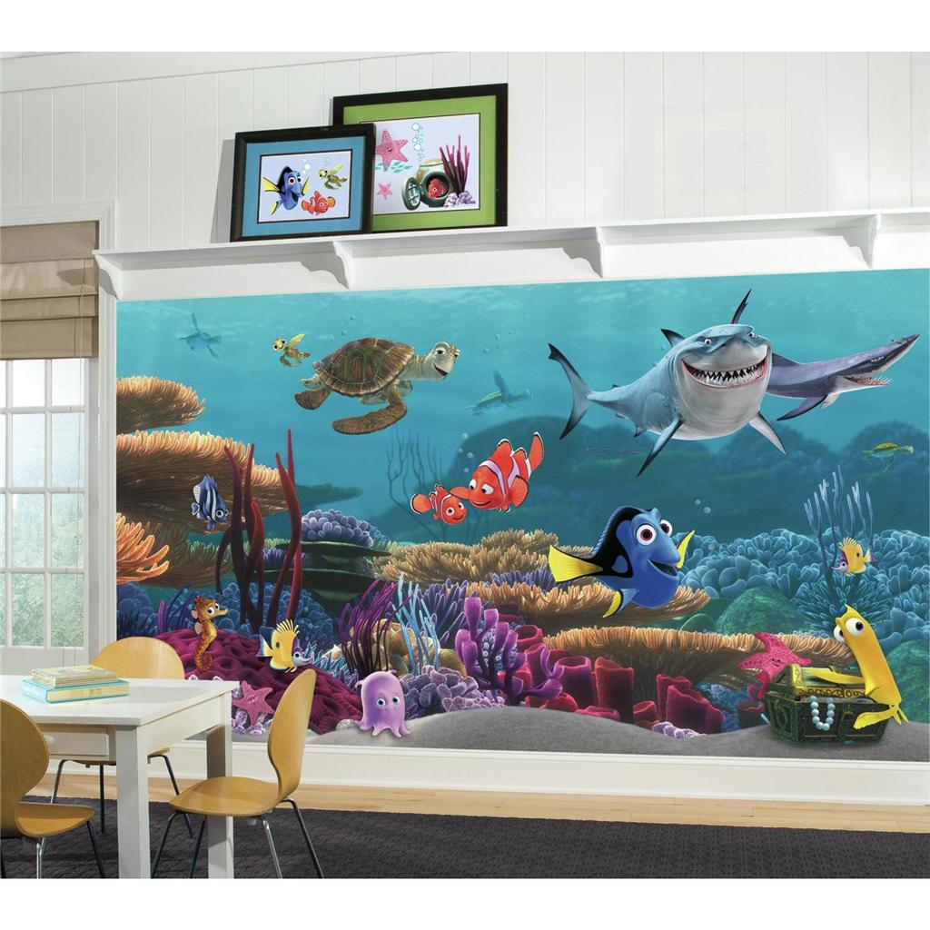 New xl finding nemo wallpaper mural kids room or bathroom for Disney mural wallpaper