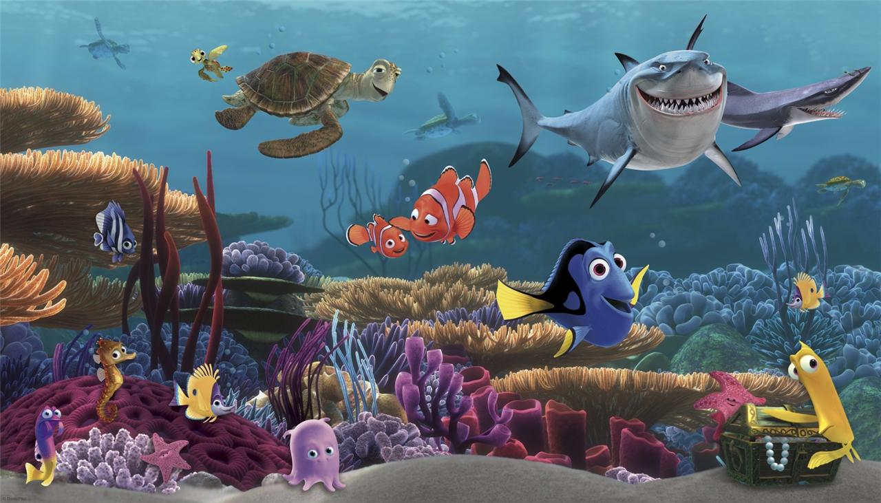 New XL FINDING NEMO WALLPAPER MURAL Kids Room or Bathroom