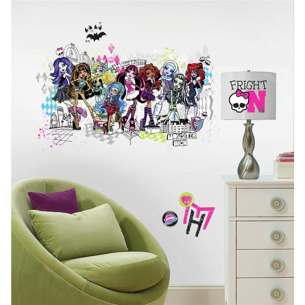 ... Giant MONSTER HIGH GROUP WALL DECALS Girls Room Stickers Bedroom Decor