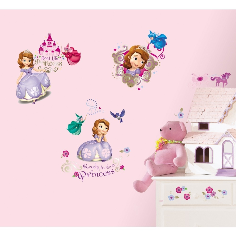 New sofia the first wall decals disney princess stickers for Disney princess wall mural stickers