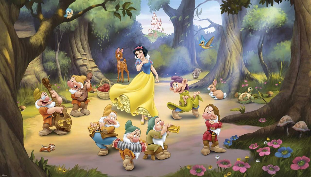 New xl snow white dwarfs prepasted wallpaper mural for Disney mural wallpaper