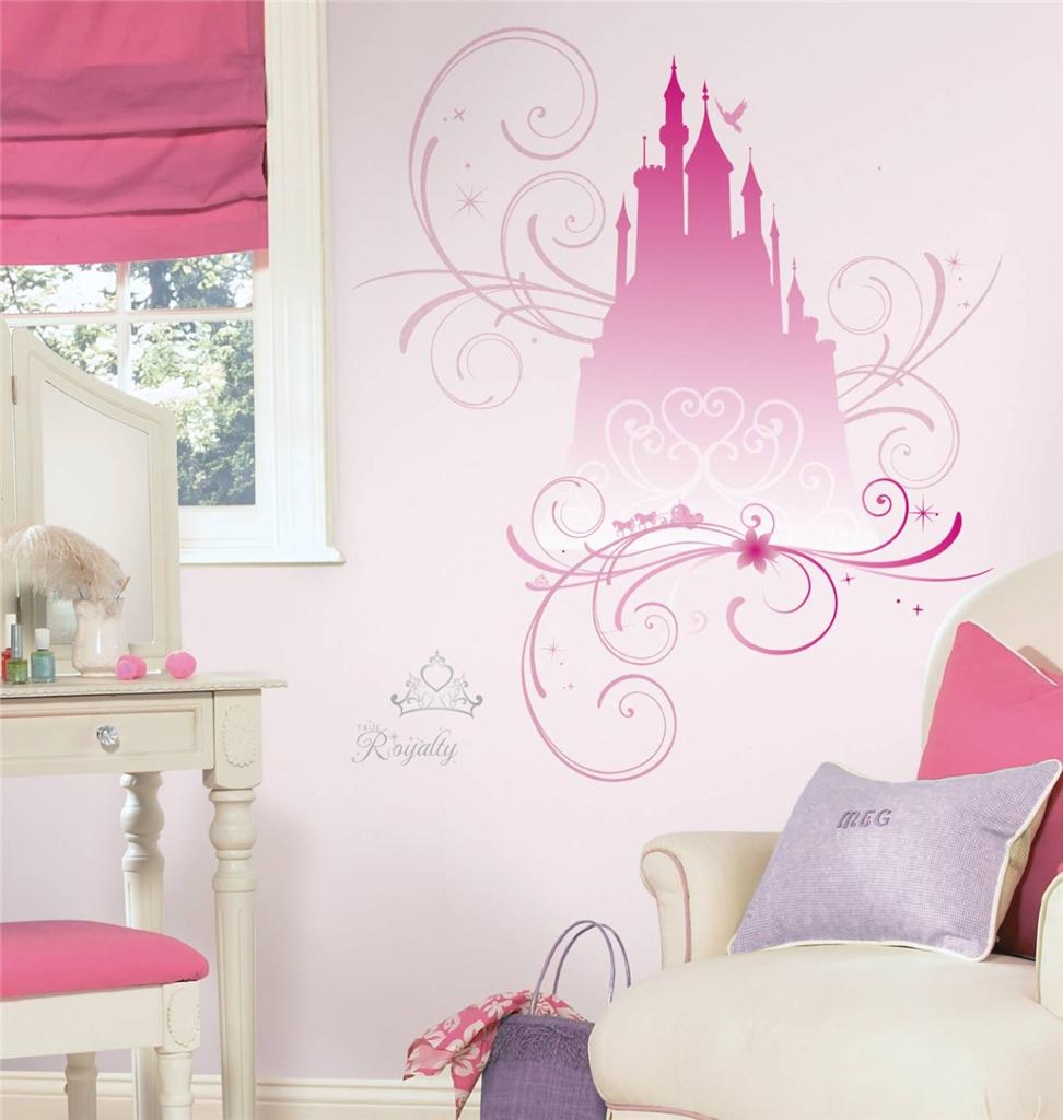 New giant disney princess scroll castle wall decals for Princess bedroom decor