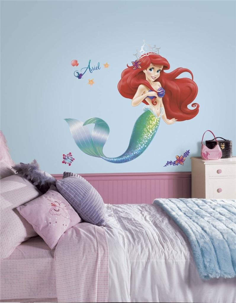 New Giant Little Mermaid Wall Decals Girls Disney Bedroom Stickers Ariel Decor Ebay