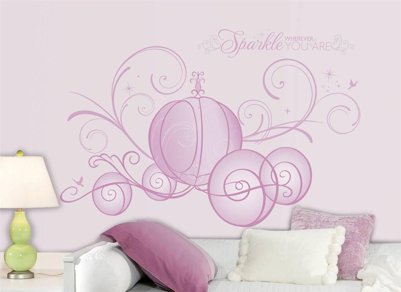 new giant disney princess scroll carriage wall decals girl stickers room decor ebay. Black Bedroom Furniture Sets. Home Design Ideas
