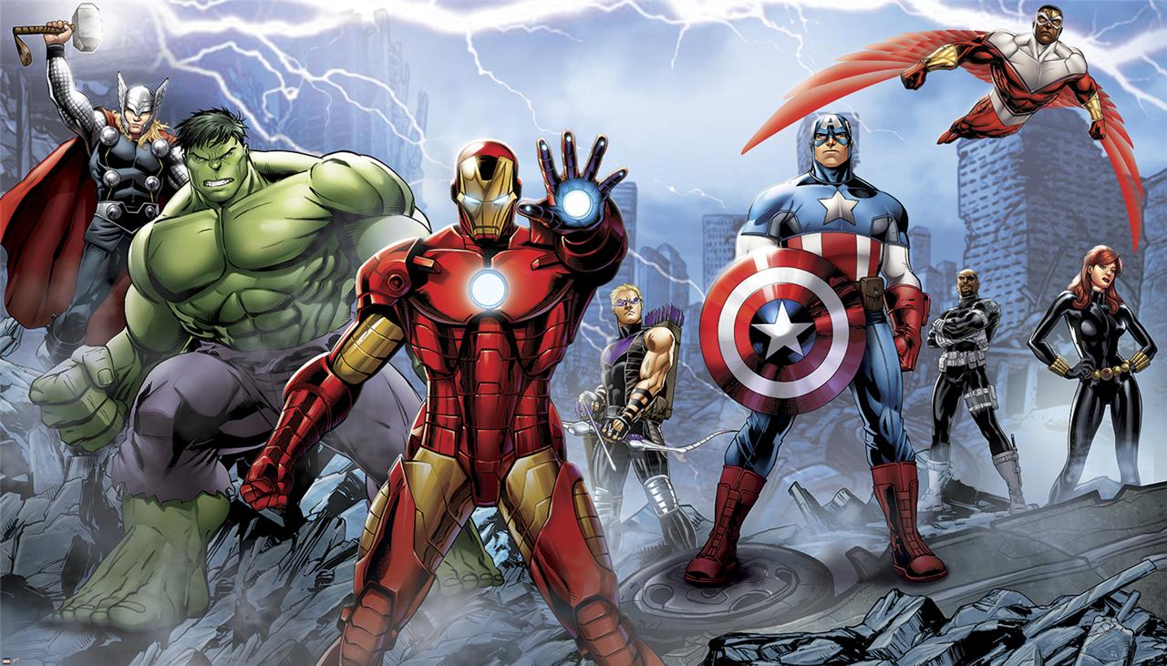 New xl avengers assemble prepasted wallpaper mural marvel for Avengers wallpaper mural