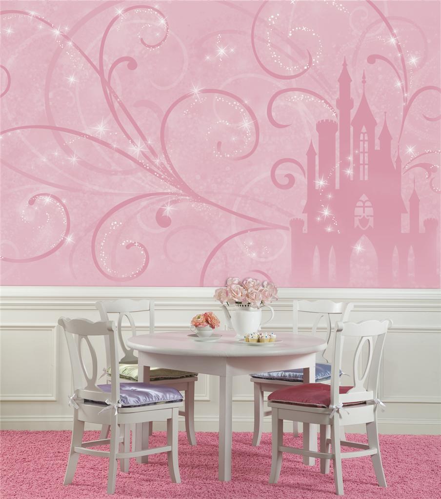New xl disney princess scroll castle wallpaper mural pink for Disney princess ballroom wall mural