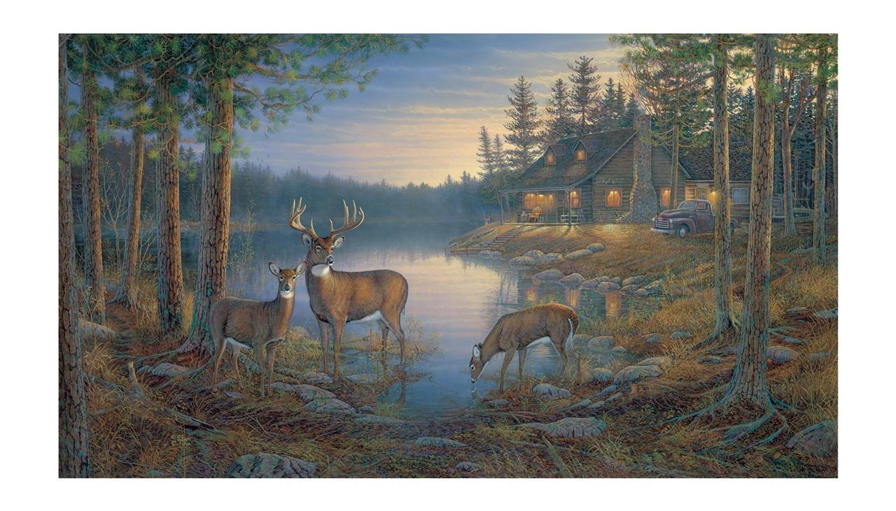 New 15 39 x9 39 quiet places deer prepasted wallpaper mural for Deer wall mural