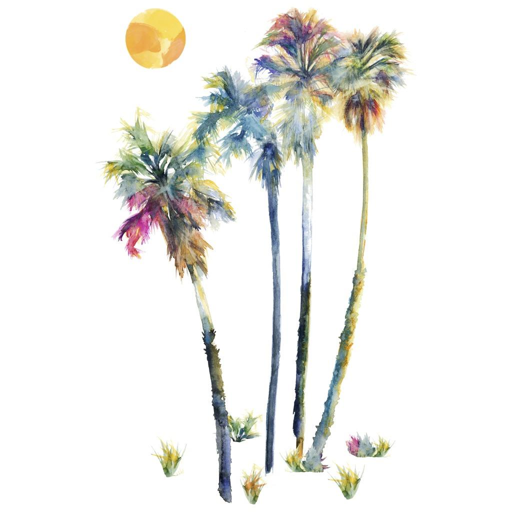 new large watercolor palm trees wall decals tropical decor