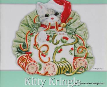 Fitz floyd kitty kringle christmas cat canape plate for Canape serving platters