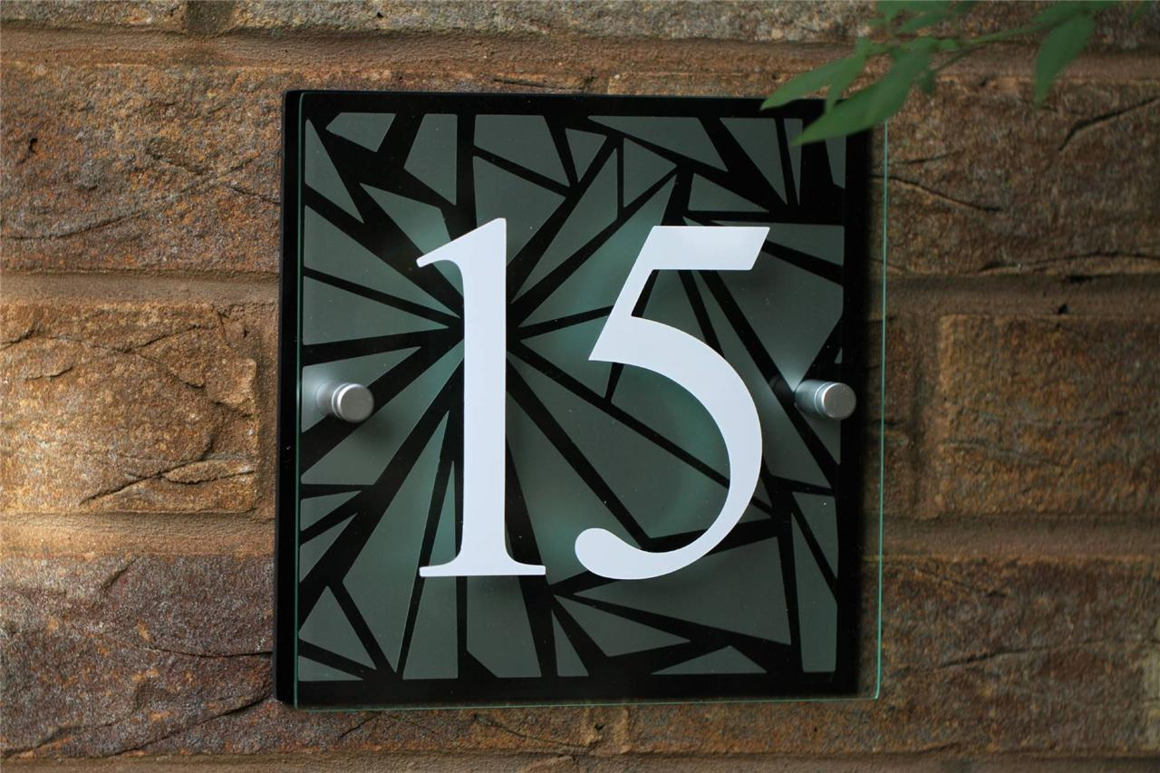 modern house sign name plaque door number unique pattern design colour choices ebay. Black Bedroom Furniture Sets. Home Design Ideas