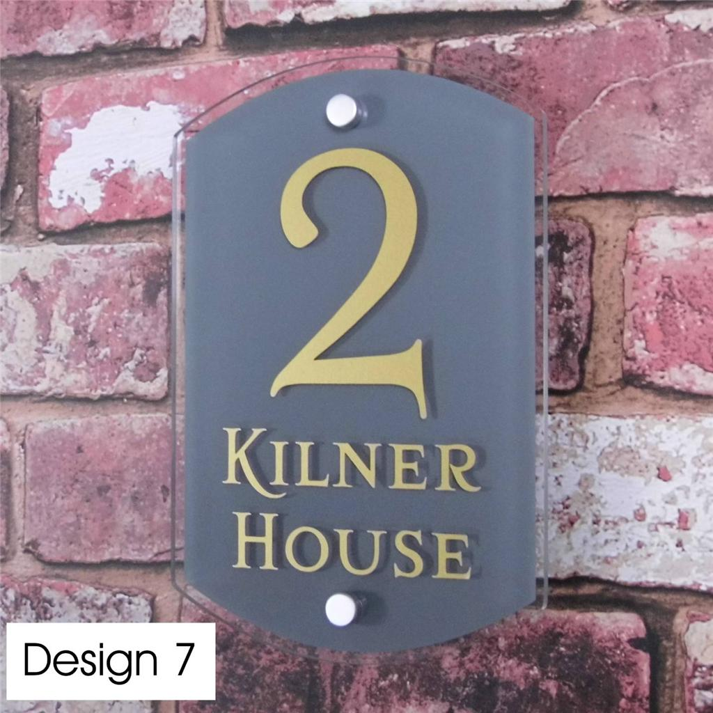 personalised house sign door number street address plaque glass