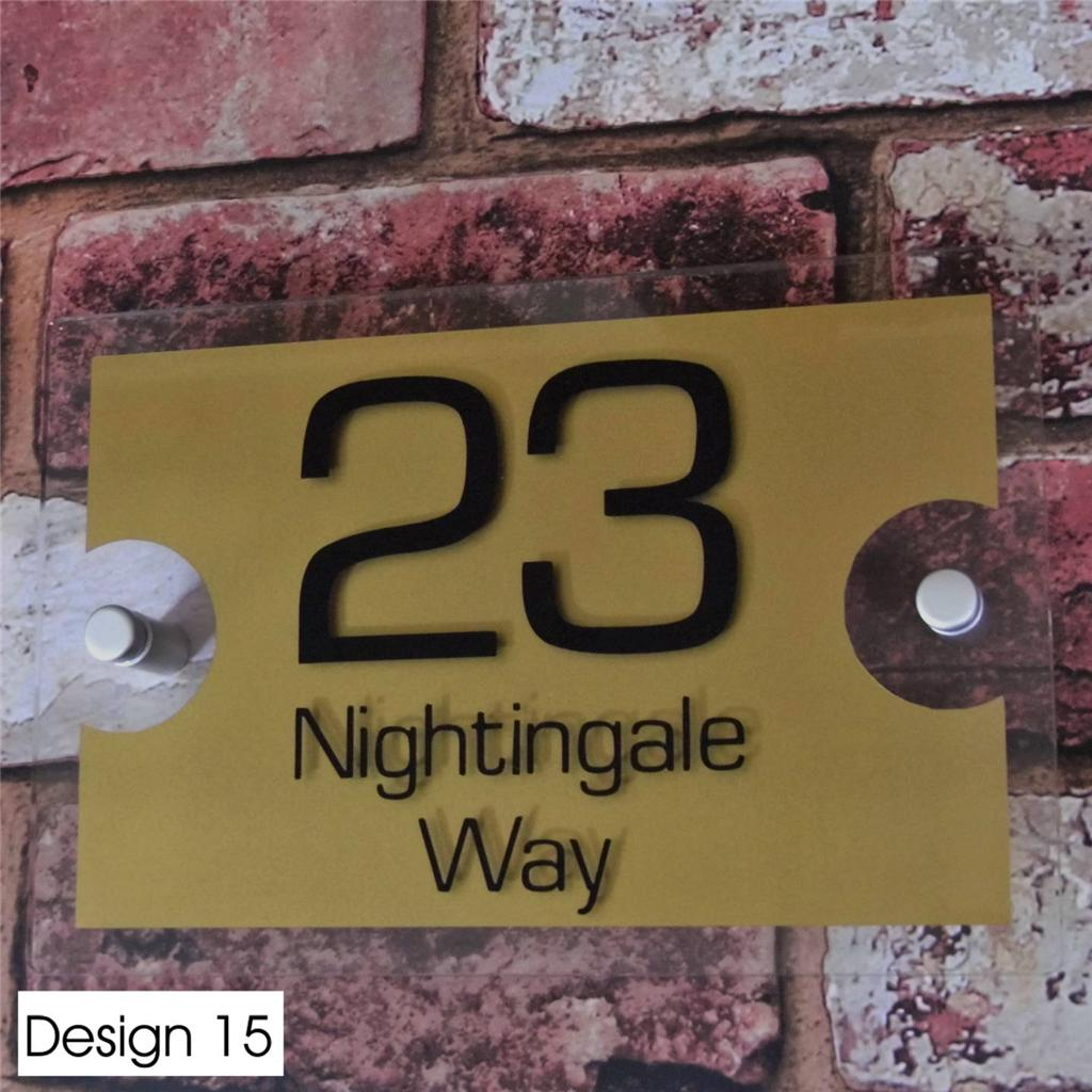Modern house sign door number street address plaque glass for Modern house number plaques