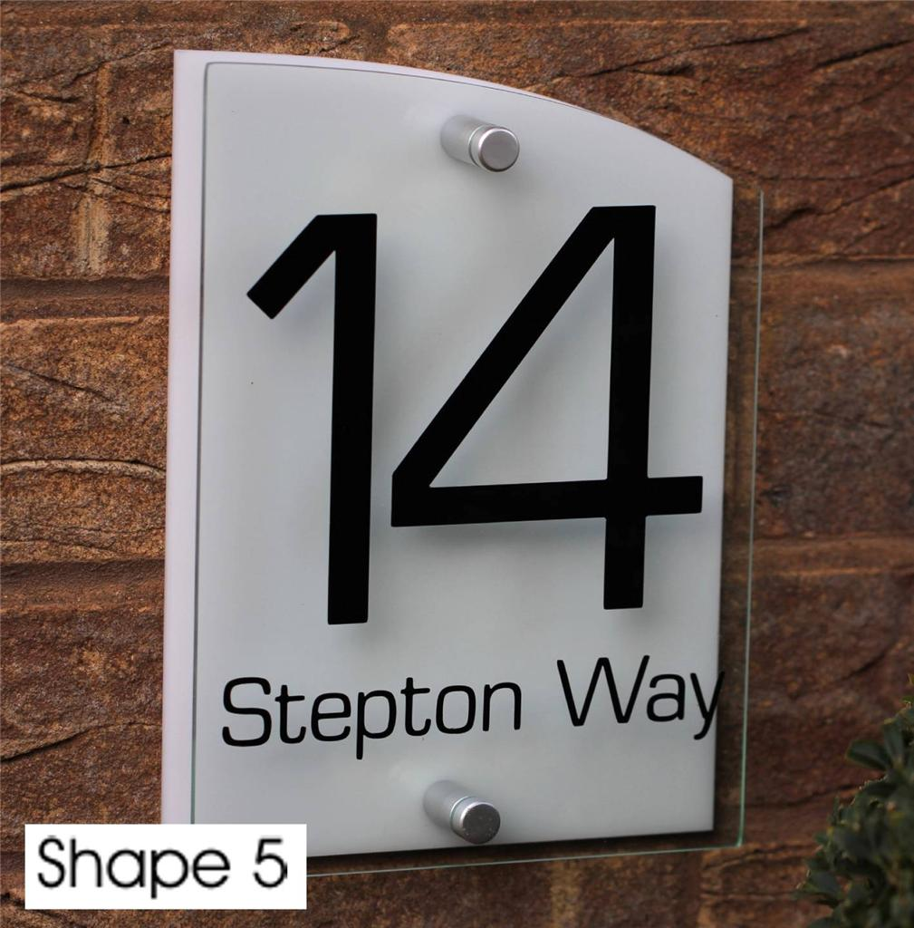 Modern House Sign Door Number Street Name Address Plaque Glass Effect Acrylic Ebay
