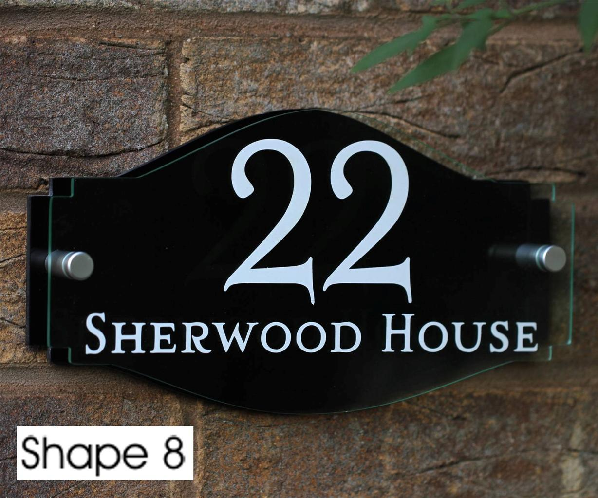 Modern House Sign Door Number Street Name ddress Plaque Glass ... - ^