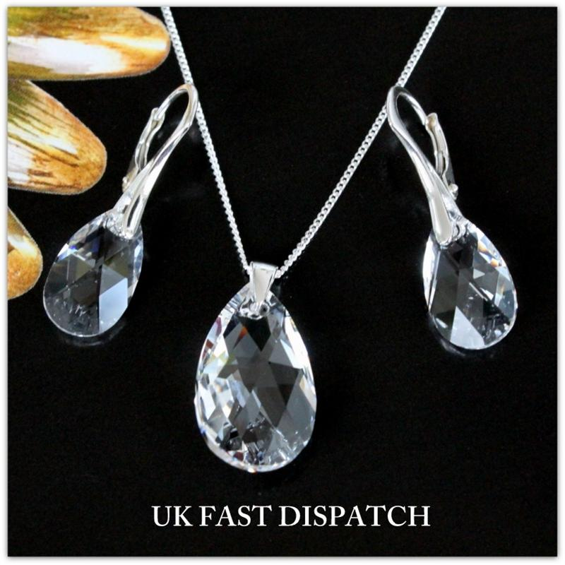 GENUINE SWAROVSKI PEAR CRYSTAL,SET OF 925 STERLING SILVER EARRING AND NECKLACE