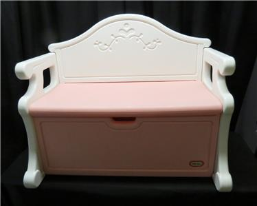 Vintage Little Tikes Victorian Toy Box Chest Pink White