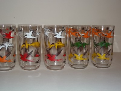 Bird Tumblers Drinking Glasses Swallowtail? Birds Multi Colored