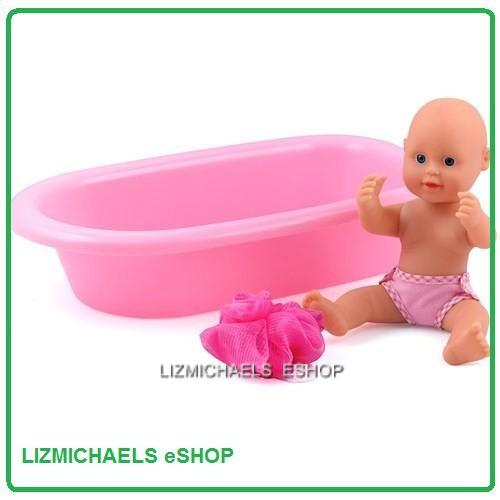 wow dolls world bathtime baby doll w bath tub pretend parent play toy ebay. Black Bedroom Furniture Sets. Home Design Ideas