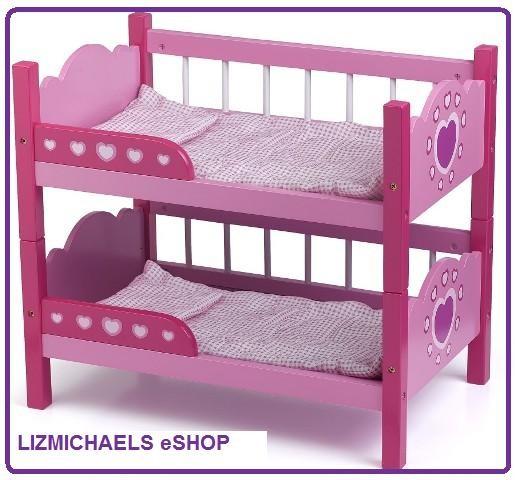 Details about WOW! DOLLS WORLD - DOLL WOODEN PINK BUNK BEDS Girls Kids ...