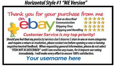 250 custom personalized 5 star dsr reminder thank you cards for the ebay seller ebay. Black Bedroom Furniture Sets. Home Design Ideas