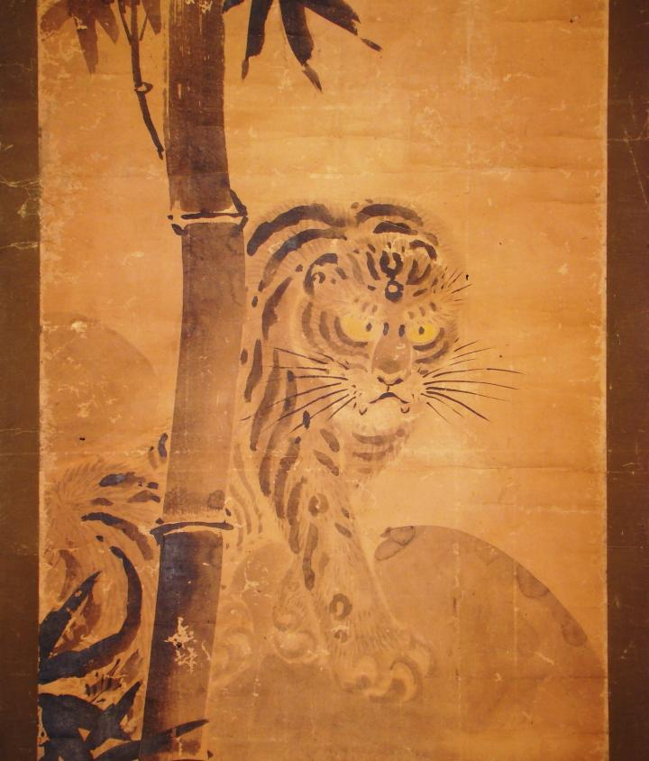 "Antique Japanese Scroll: JAPANESE HANGING SCROLL: Antique ""Tiger And Bamboo,"" By"