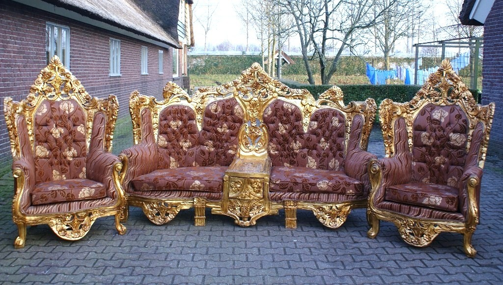 Antique Italian Rococo Complete Living Room Set 5 Pcs