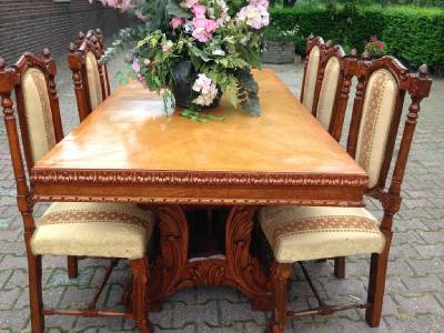 ANTIQUE FRENCH LOUIS XVI DINING ROOM SET TABLE WITH CHAIRS BUFFET BAR 19