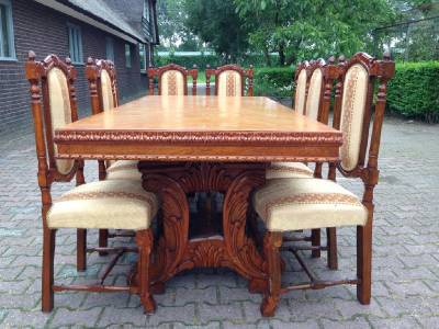 ANTIQUE FRENCH LOUIS XVI DINING ROOM SET TABLE WITH