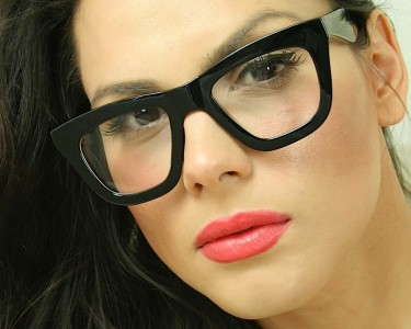 Good Eyeglass Frames For Thick Lenses : Sexy Cat Eye Big Oversized Clear Lens Thick Black Frame ...