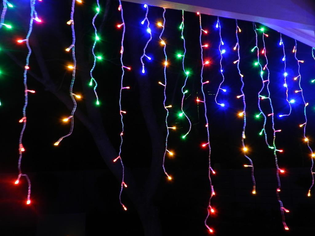 Long Icicle String Lights : 500 LED Multi Colour Christmas Icicle / Curtain Light - Long drop eBay