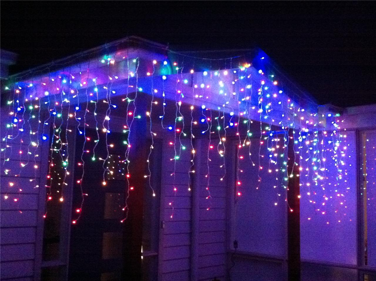 500 LED Multi Colour Christmas Icicle / Curtain Light - Long drop eBay