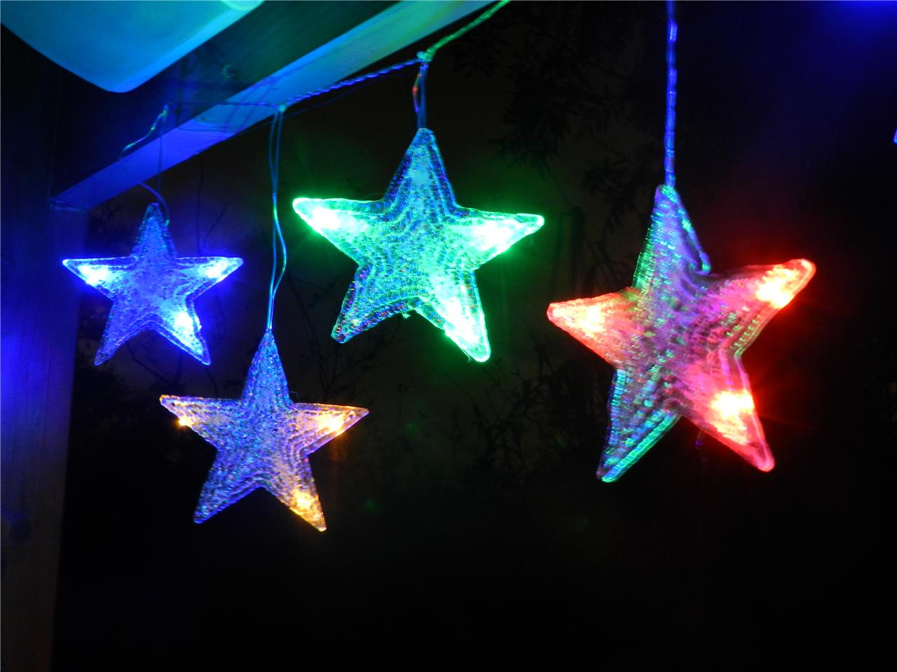 String Of Led Star Lights : Multi Colour Star LED Outdoor Curtain String Christmas Light Decoration eBay
