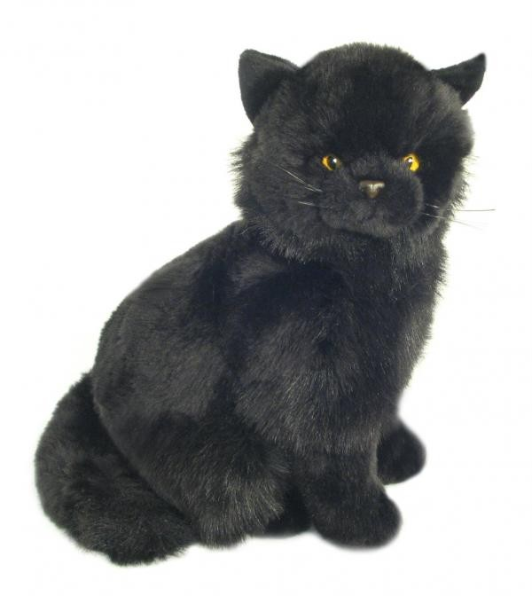 lovely sitting long haired black cat plush toy new. Black Bedroom Furniture Sets. Home Design Ideas