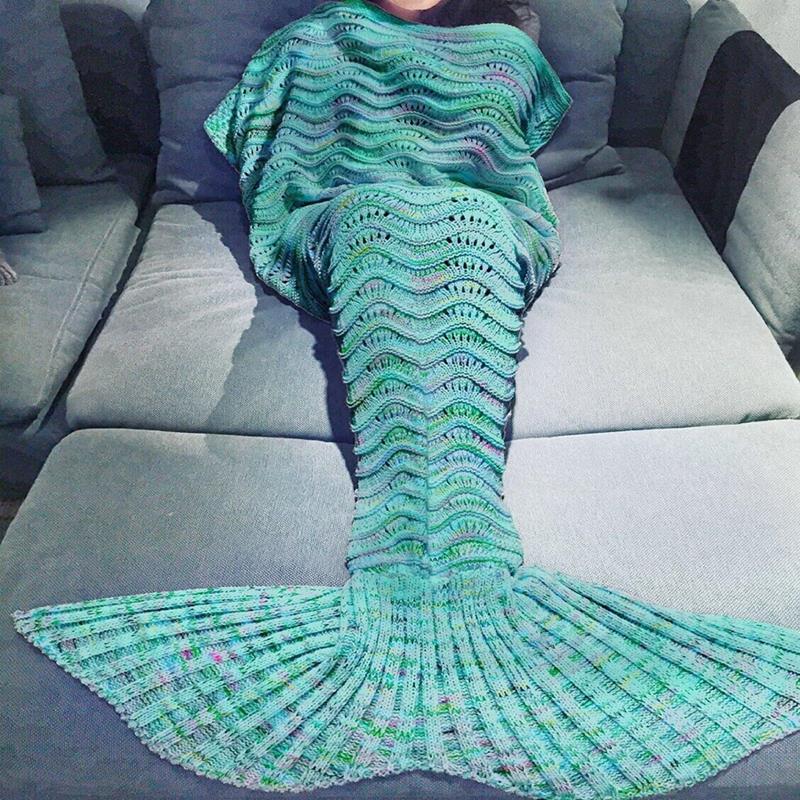 Mermaid Tail Sofa Blanket Super Soft Hand Crocheted Knitting Wave sleeping ba...