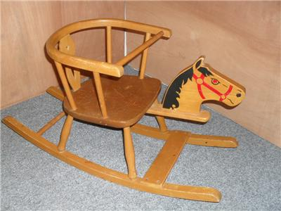 Vintage retro childs wooden rocking horse rocking