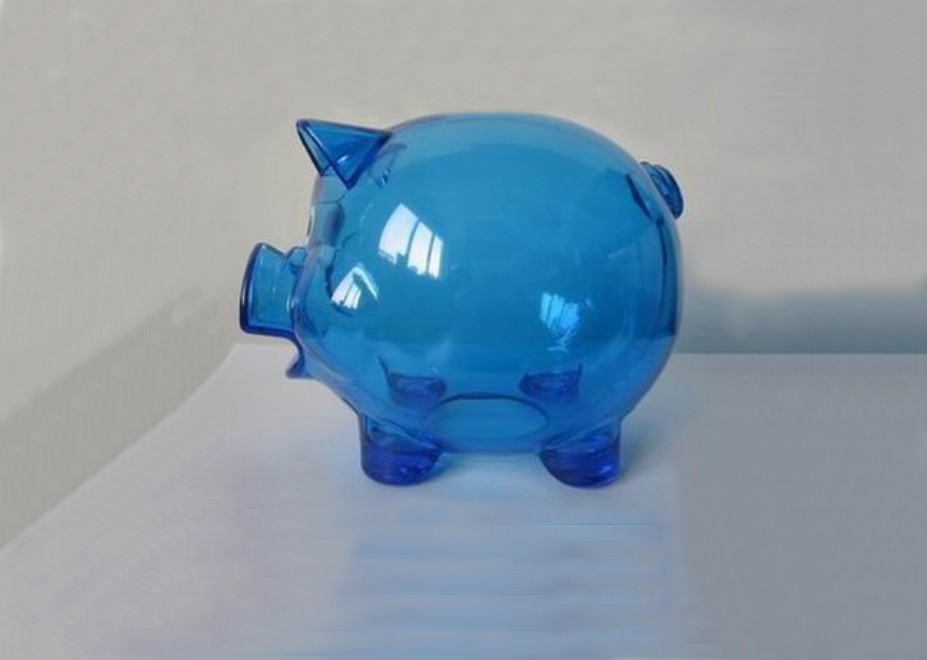 Clear Hard Plastic Pig Coin Piggy Bank Blue With Stopper