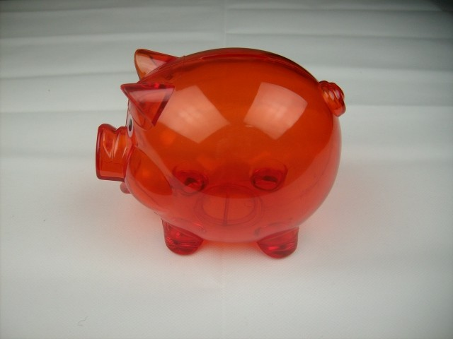 Clear hard plastic pig coin piggy bank red with stopper ebay - Resin piggy banks ...