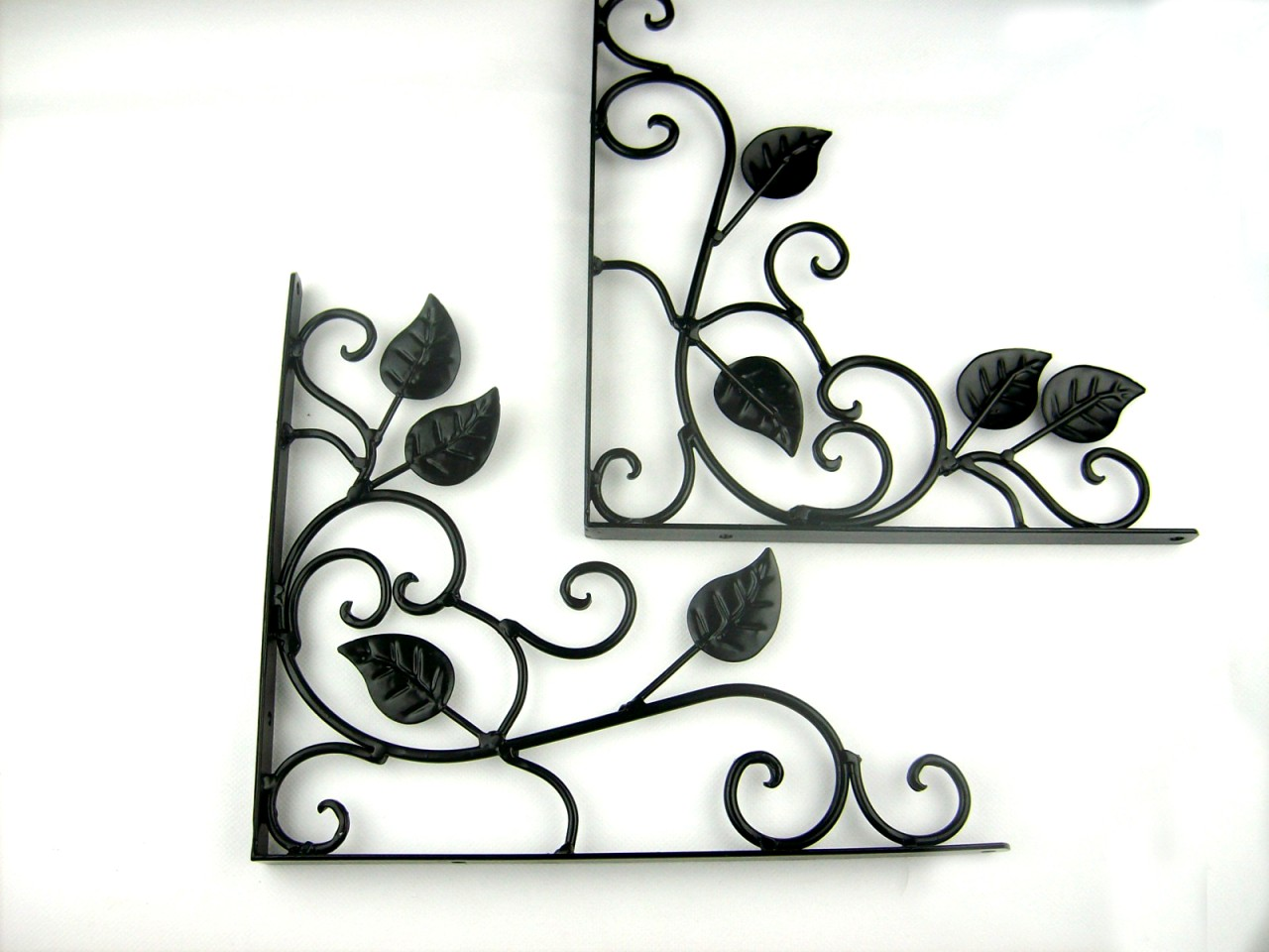 pair of iron metal decorative wall shelf brackets brace. Black Bedroom Furniture Sets. Home Design Ideas
