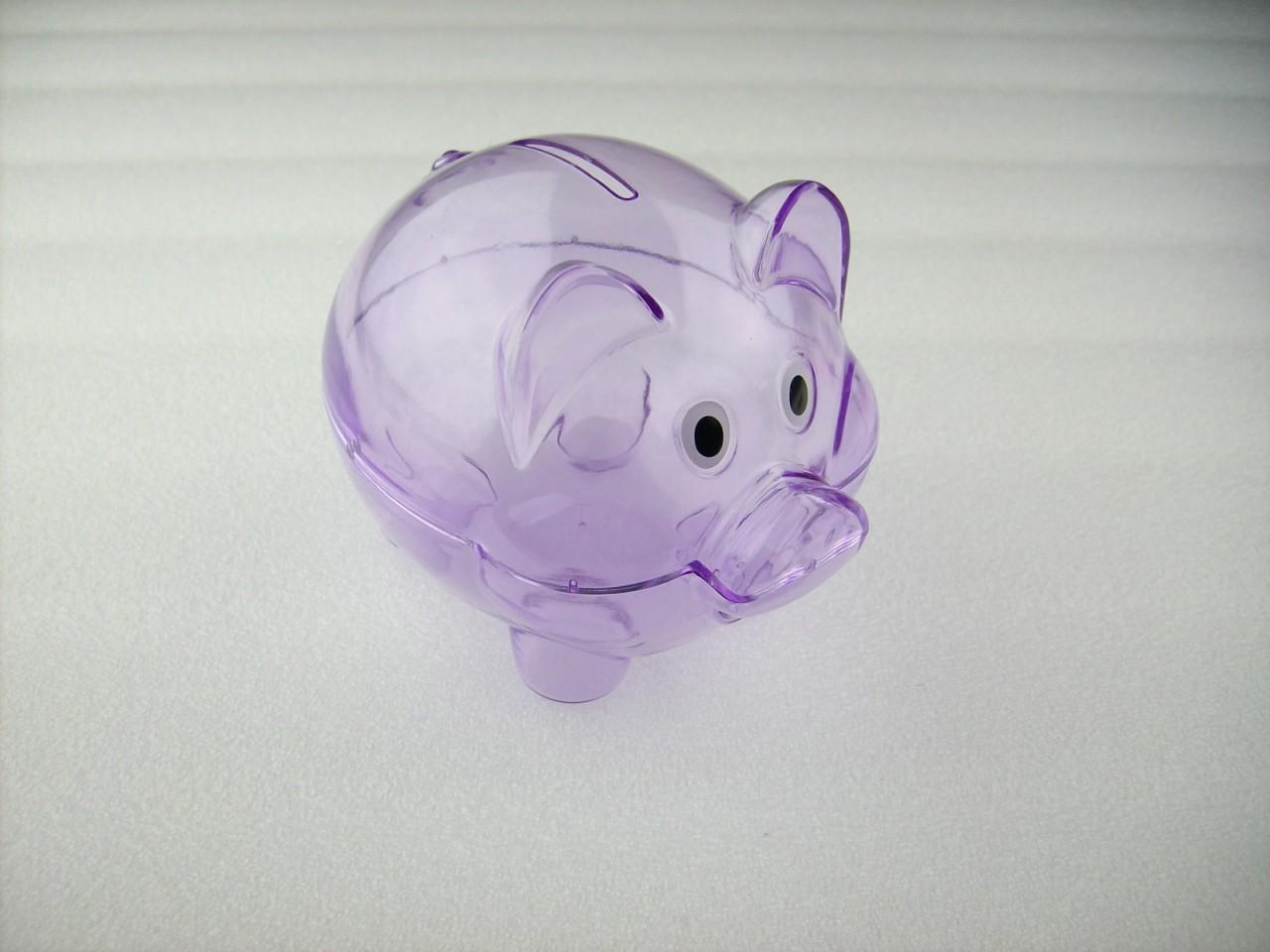 Mini transparent plastic coin pig piggy money bank purple without stopper - Piggy bank without stopper ...
