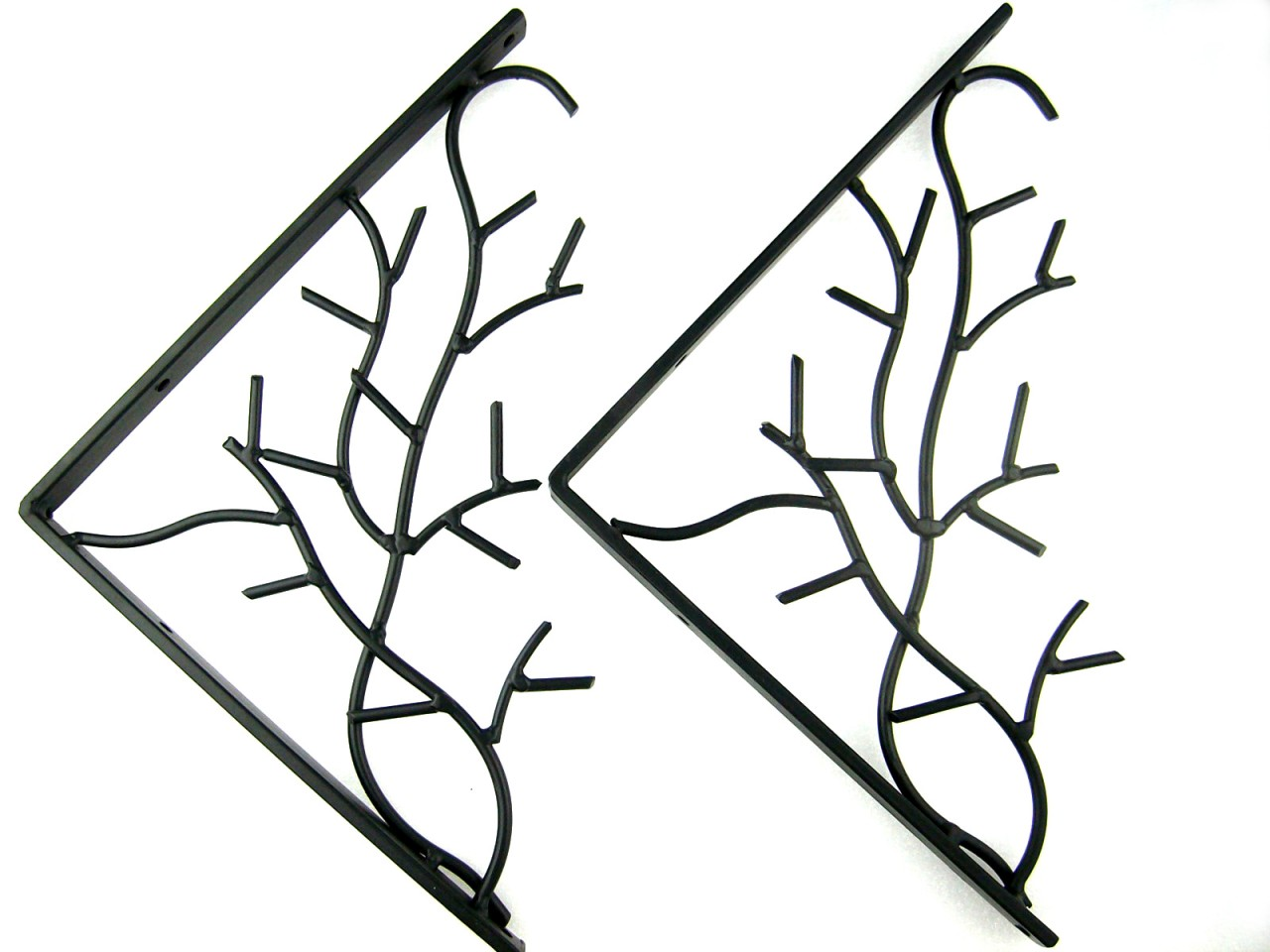 pair of iron metal branch decorative wall shelf brackets. Black Bedroom Furniture Sets. Home Design Ideas