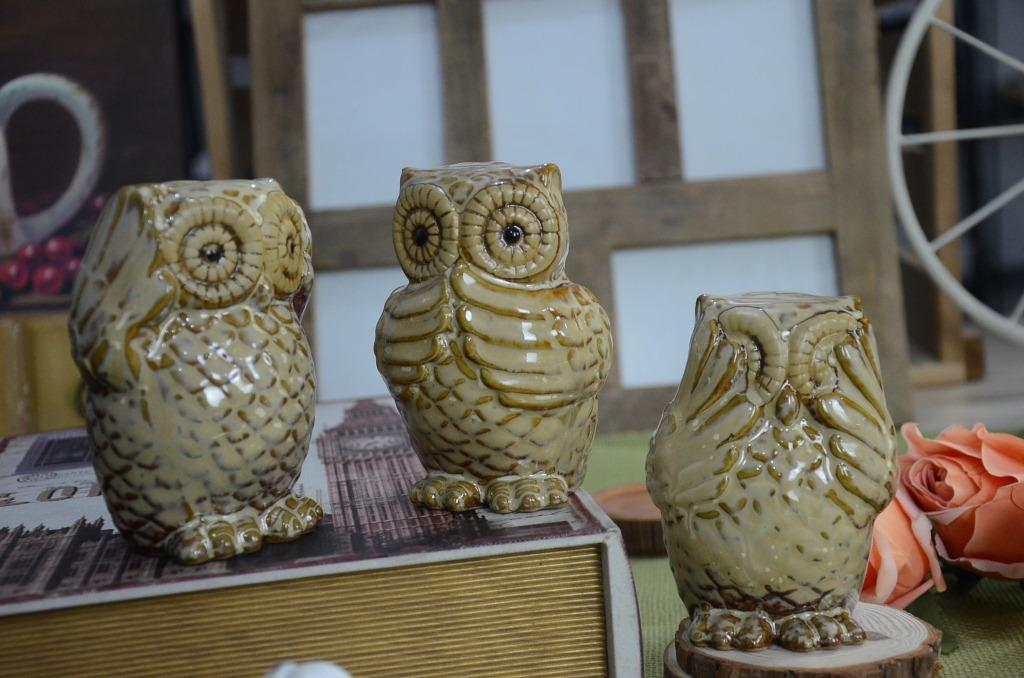 Set Of 3 Wise Ceramic Owl Figurine Piggy Bank Decor See