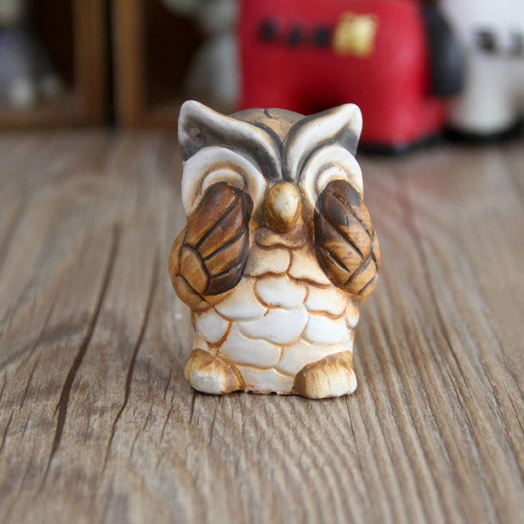 Set of 3 small pottery wise owl figurine model decor see hear speak no evil ebay - Hear no evil owls ceramic ...