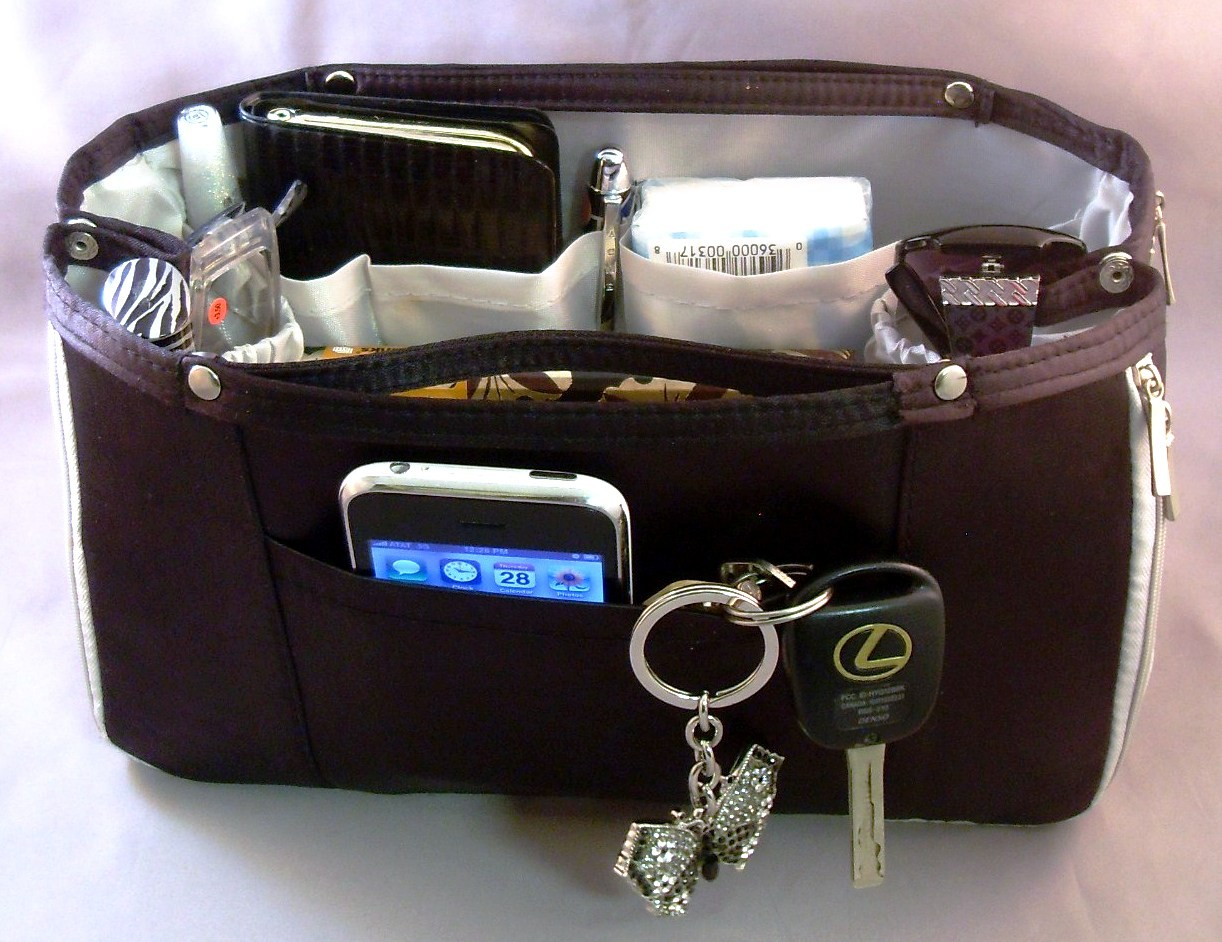 purse organizer insert black exterior grey interior purse handbag britney black ebay