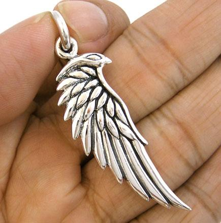 EAGLE-HAWK-BIRD-WING-FEATHER-STERLING-SILVER-PENDANT