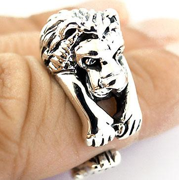 HANGING-LION-LEO-KING-STERLING-925-SILVER-RING-Sz-6-5