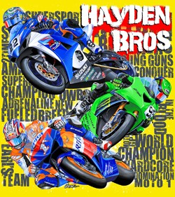 Hayden-Brothers-Motogp-Yellow-T-Shirt-Nicky-Tommy-Roger-Lee-Sm-Med